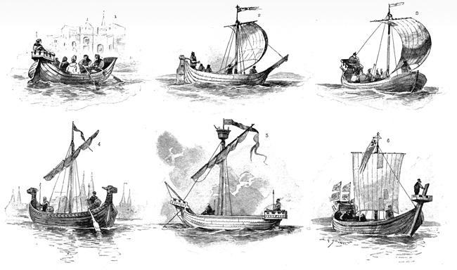Hansa ships of the XIVth and XVth centuries. (Wikimedia)