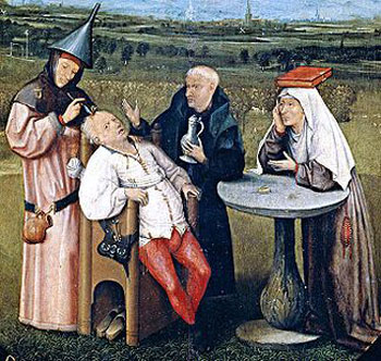 Detail from The Extraction of the Stone of Madness, a painting by Hieronymus Bosch depicting trepanation (c.1488-1516)