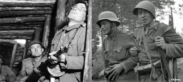 Kuva: Hälytys VT-linjan asemissa. Kuvaaja sot.virk. Uuno Laukka, Liippua 1944, SA-kuva Kuva: Tasapainoaisti on järkkynyt kranaatin räjähtäessä. Aseveli ohjaa horjuvaa kulkua Joukkosidontapaikalle. Vuosalmi 13.7.1944. Kuvaaja sot.virk. Uuno Laukka, kuvateksti SA-kuva. SA-kuva.